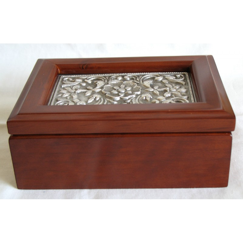Wooden jewelry box with pewter inlay
