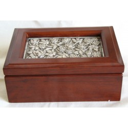 Wooden jewelry box with pewter