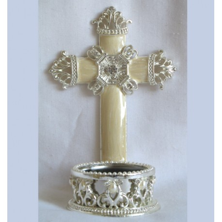 Cross with tea light candle holder